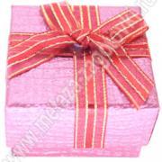 Кробочка подарочная для ювелирных изделий с тиснением и бантиком