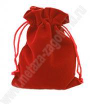 Подарочный бархатный мешочек красный, для упаковки подарков средних размеров