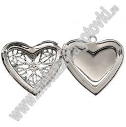 Медальон сердечко открывающийся с резной крышкой 280-23
