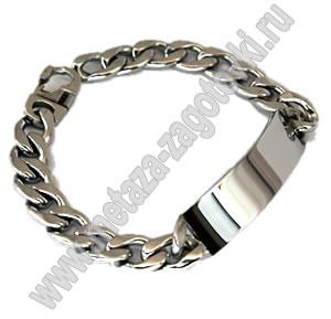 257 01 браслет мужской цвет серебряный под гравировку